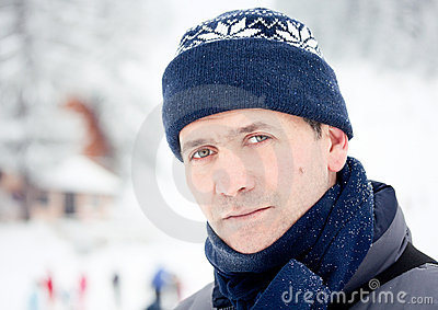 Winter snow outdoor portrait of man