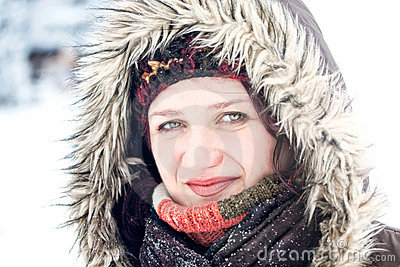 Winter snow outdoor portrait of woman