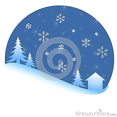 Winter Snow Trees Night Scene
