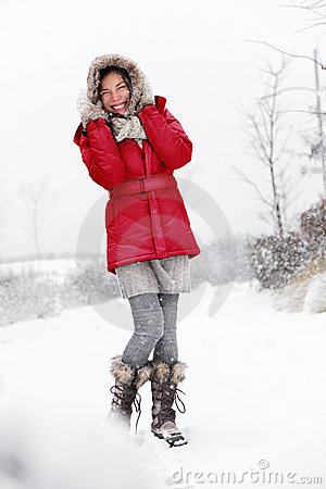 Winter snow woman fun