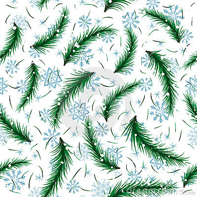 Winter snowflake and fir brunch seamless pattern.
