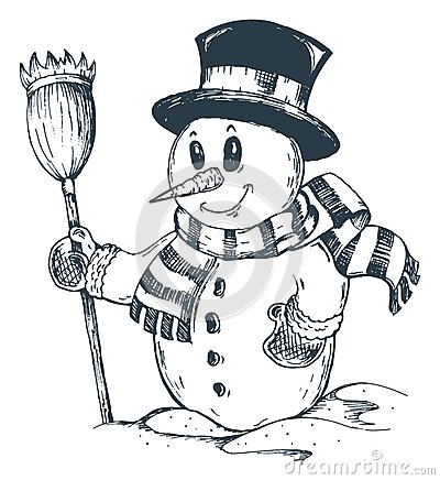 Winter snowman theme drawing 1