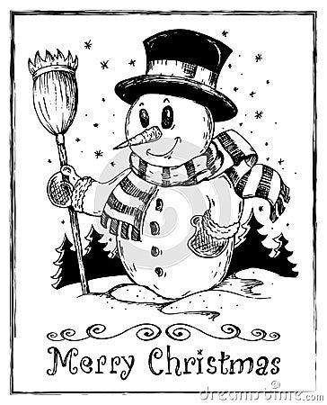 Winter snowman theme drawing 2