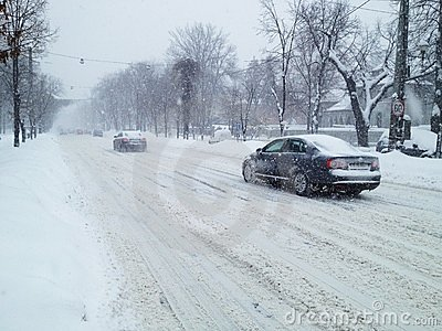 Winter snowstorm traffic Editorial Stock Photo