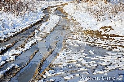 Winter snowy road through frozen forest