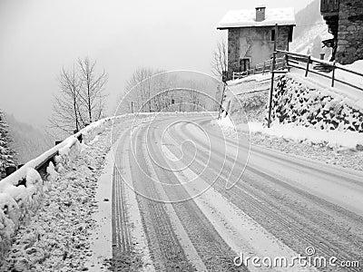 Winter, snowy road