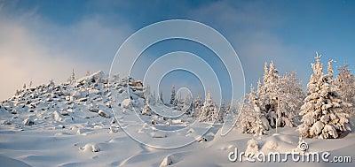 Winter in southern ural. Kumardaque mountain