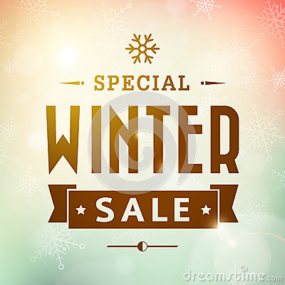 Free Winter Special Sale Vintage Typography Poster Stock Image - 36722091