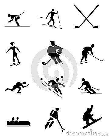 Winter sport symbols Cartoon Illustration