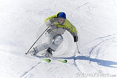 Winter sports Skier high speed