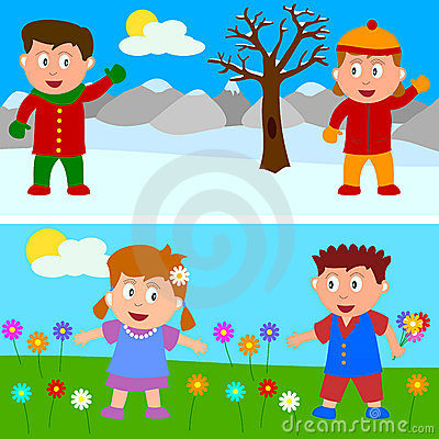 Winter & Spring Kids Banner