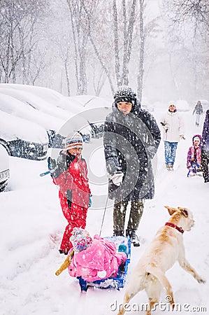 Winter street scene Editorial Stock Photo
