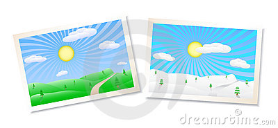 Winter and summer landscapes illustration