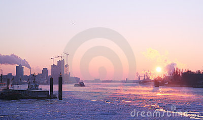 Winter sunrise in Hamburg