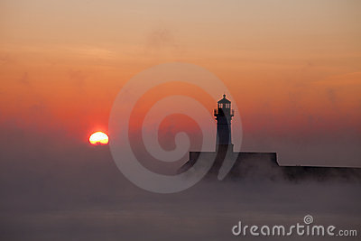 Winter Sunrise and  Lighthouse