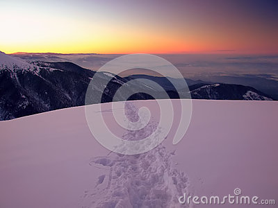 Majestic sunset in winter mountain landscape