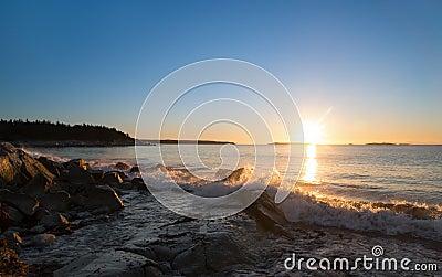 Winter sunrise at the ocean beach