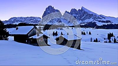 Winter sunrise over Alpe di Siusi, Dolomites, Italy stock footage