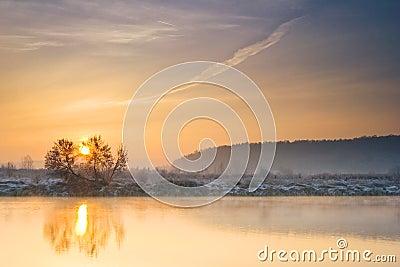 Winter sunrise over the river