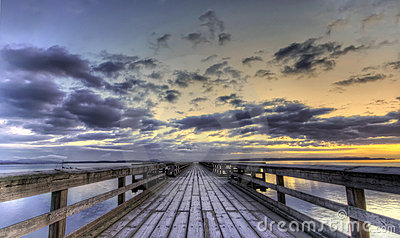 Winter sunrise on a pier