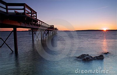 Winter sunrise on a pier