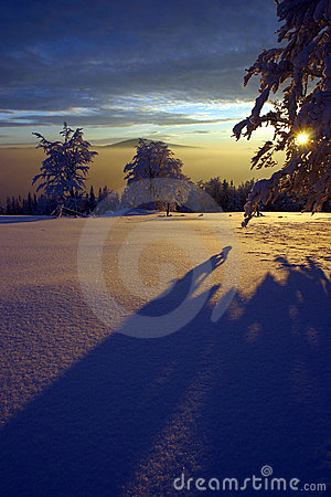 Free Winter Sunset Royalty Free Stock Photography - 2113237