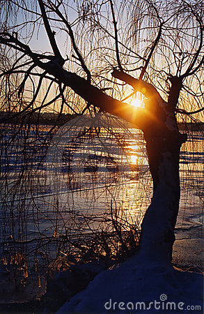 Winter sunset on the Dniepr river