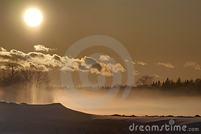Winter sunset and fog