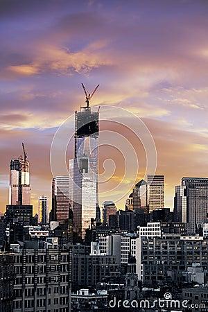 Free Winter Sunset Freedom Tower Lower Manhattan New-York Stock Image - 29882901