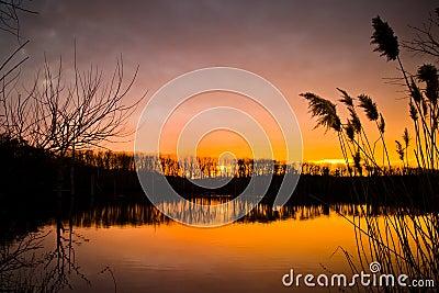 Winter Sunset at Lake