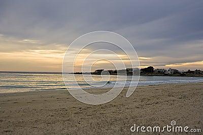 Winter sunset on the sea