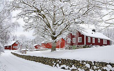 Winter in Swedish village