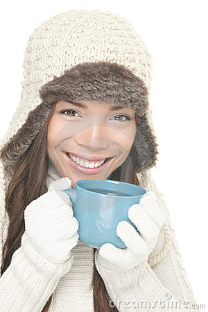 Winter tea / coffee drink drinking girl