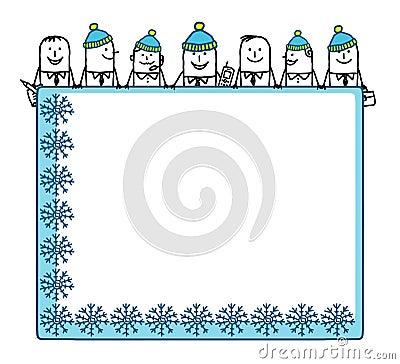 Winter teamwork & blank space