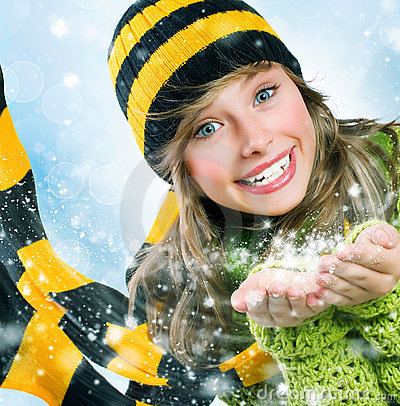 Free Winter Teenage Girl Blowing Snow. Christmas Royalty Free Stock Photography - 22081817