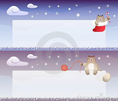 Winter theme banner with cat