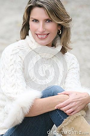 Winter Theme - Gorgeous Woman in White Sweater