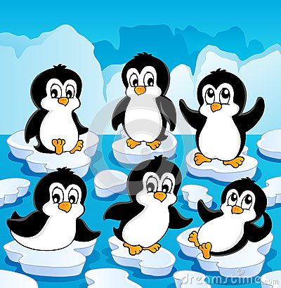 Winter theme with penguins
