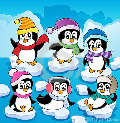 Free Winter Theme With Penguins Royalty Free Stock Images - 27688919