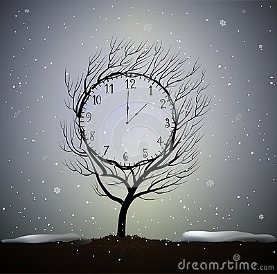 Free Winter Time, Tree Looks Like Winter Clock, 5 Minutes To Frosty Weather, Magic Clock Tree Growing On Soil In Beautiful Royalty Free Stock Images - 104778519
