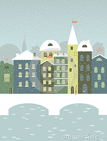 Winter town with a bridge.