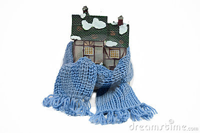 Winter toy fachwerk house with blue scarf