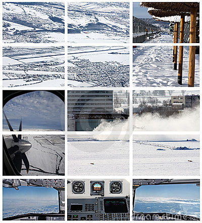 Winter transport aviation related  collage