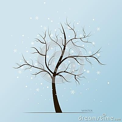 Free Winter Tree And Snow Flakes Stock Photos - 62415593