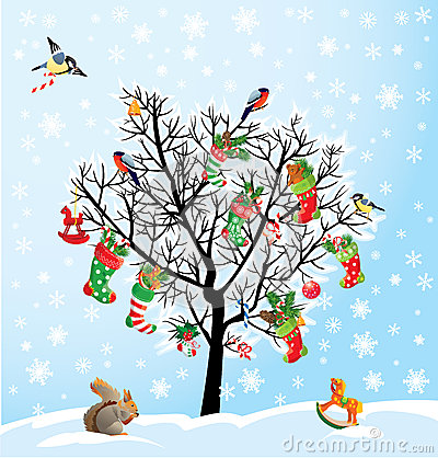 Winter tree with birds, squirrel, Xmas shoes, cand