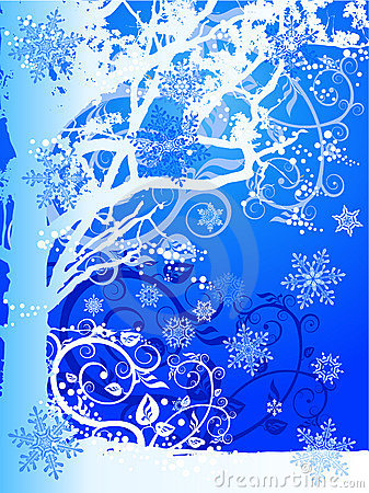 Winter tree & snowflakes