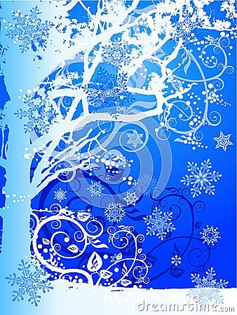 Winter tree & snowflakes
