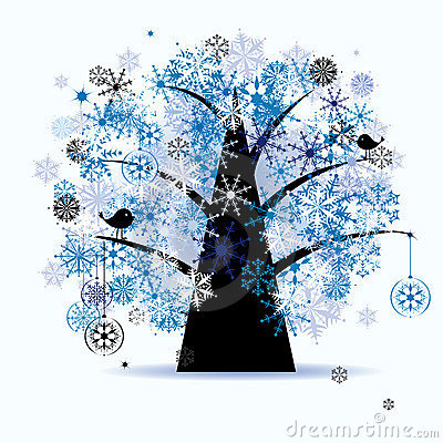 Winter tree, snowflakes. Christmas holiday.