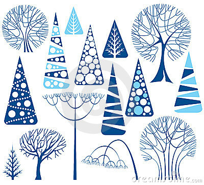 Winter Trees Collection Stock Photos - Image: 15497813