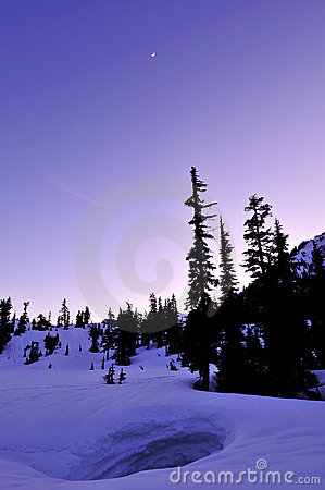 Winter twilight in Mt. Baker